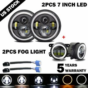 "7"" inch LED Headlight Halo Hi/lo+4"" inch Fog Lamp Kit For 07-18 Jeep Wrangler JK"