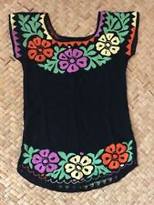 Beautiful Hand Embroidered Floral Huipil Jalapa Oaxaca Mexican Art