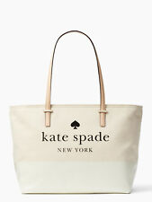 Kate Spade NWT Remmi Ash Street Large Zip Tote Bag Canvas and Pouch Cement $249