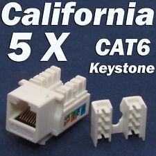 5 Pcs Lot CAT6 Keystone 8P8C RJ45 Network 110 Style Socket Punch Down Jack White