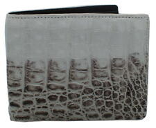 Authentic Elfano Crocodile Skin Men's Bifold Belly Leather Wallet White