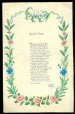 Beautiful Watercolor and Hand Penned Verse 1832 2 Girls to Their Mother