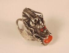 Vintage Sterling Silver Red Coral Chinese Dragon Ring size 8