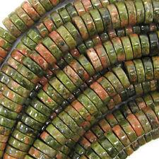 """10mm unakite jasper heishi beads 16"""" strand"""