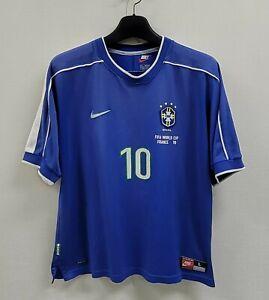 1998 Brazil Away S/S No.10 RIVALDO 1998 France WorldCup size L Jersey shirt