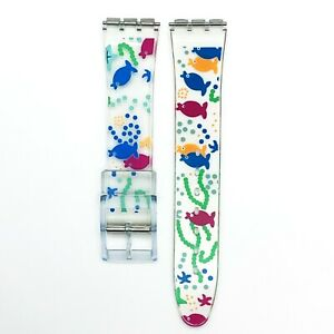 Swatch Watch Strap Replacement 17 MM PVC Multi-Color Modern Art Band