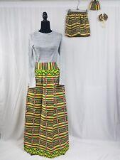 "Mom And Me ND Barbie Doll Ankara Skirt Set Africa Skirt Hair Bow SIZE12 35""Waist"