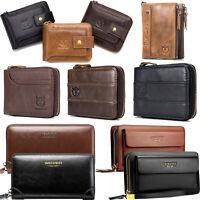 Men Wallet Genuine Leather RFID Zip Around Bifold Double Zipper Long/Short Purse