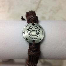 LEATHER  ZODIAC CANCER ESSENTIAL OIL DIFFUSER BRACELET, ADJUST 7 - 12 INCHES,NEW