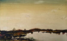 After Charles Paul Gruppe. Watercolor Marshland w/ Homestead