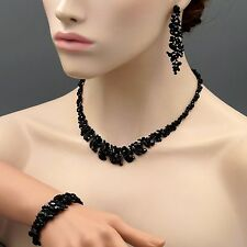 Black Jet Crystal Necklace Earrings Bracelet Bridal Wedding Jewelry Set 08486