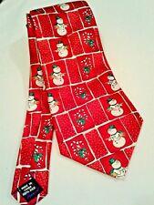 Nicole Miller 100% Silk Necktie Christmas Snowman Candy Cane Red White
