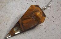 Faceted orgone healing camel jasper crystal dowsing pendulum