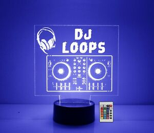 DJ Mixing Board LED Table Light, Personalized FREE, Custom Lamp, w/Remote