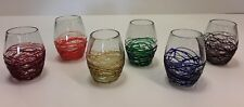 Uncommon Goods Par a Sol Web Stemless Wine Glasses Set of 6 Handcrafted