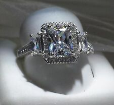 Engagement Ring . Size 10 925 Silver 3ct Emerald Cut Halo
