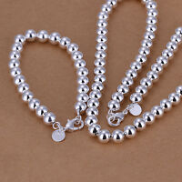 925 Sterling Silver Filled 10MM Solid Ball Beads Charm Bracelet / Necklace Set