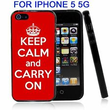 Red Keep Calm and Carry On For Iphone5 5G Case Cover