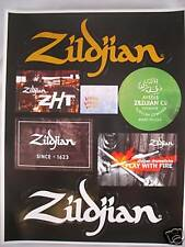 ZILDJIAN DRUM CYMBAL SHEET OF 7 DECAL CASE RACK STICKER