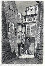 Antique print street Baghdad Iraq 1887 Bagdad stampa antica / holzstich