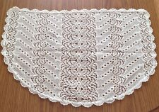 Vtg Handcrafted Lace  Half Circle Doily Table Cover
