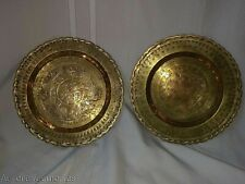 Vtg Chinese Brass Metal Metalware 2 Wall Plaque Plates Trays Luck & Partridge