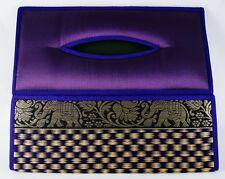 PURPLE HANDMADE ORIENTAL WICKER REED THAI SILK TISSUE BOX COVER GIFT HOME DECOR