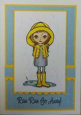 Non montés Rubber Stamp GIRL in Rain