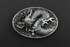 OVAL GREY CHINESE DRAGON BELT BUCKLE METAL CALENDAR TRADITIONAL HIGH DETAIL
