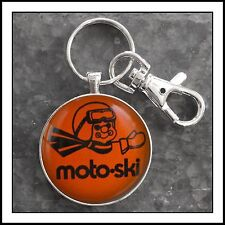 Vintage Moto Ski Advertising Pin Photo Keychain