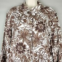 Chico's Chicos Floral Linen Button Shirt Top 3/4 Sleeve Brown White 3 XL