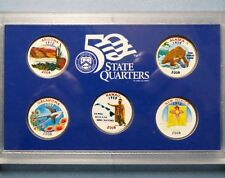 "*2008  COLORIZED STATE QUARTERS, LOT of (5) UNCIRCULATED ""Work of Art"" COINS"