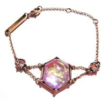GOLD LAVENDER FAUX OPAL BRACELET iridescent art deco crystal dragons breath L 3I
