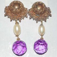 Vintage huge long dangle ornate plastic faux pearl acrylic crystal clip earrings