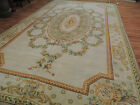 9x15 10x14 French Aubusson pile Rug SPAIN Oriental Green gold wool hand-knotted