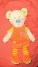 Doudou Ours salopette orange MOTS D'ENFANTS TBE