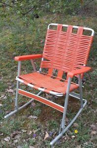 Vintage Aluminum Rocking Chair Pool Lawn Folding Armrests Orange MCM Mid Century