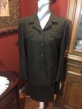 jones new york Sz. 10 Dark Army Green Wool Skirt And Blazer Suit Set