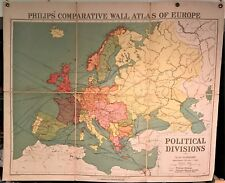 Original 1921 Philips' Comparative WALL Atlas ~ EUROPE POLITICAL DIVISIONS Map