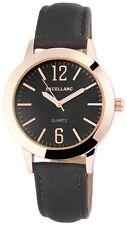 Excellanc Damen Armbanduhr 38 mm Lederarmband Edelstahl Armband Uhr schwarz