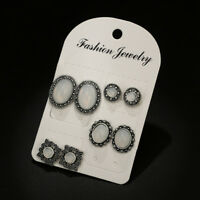 4Pair/Set Oval White Opal Stone Retro Silver Stud Earrings For Women Jewelry
