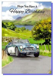 Open Happy Birthday Card - Classic Sport Car - Men Mens Male  VA128B
