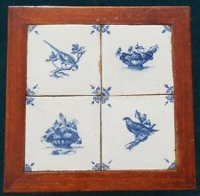 Antique Side Table with 4 Dutch Delft Blue White Birds Fruitbaskets Tiles