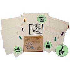 Reusable Produce Bags Grocery Shopping Bulk Food Washable Organic Cotton Mesh