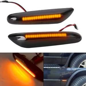 2PC Black Smoked Side Indicator LED Repeater Light BMW E81 E87 E90 E92 E60 E61