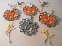 4 Tatted Fall Pumpkins Halloween Crazy Quilt New Tatting By Dove Country