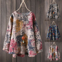 Womens Plus Size Long Sleeve Floral Print Shirt Round Neck Oversize Blouse Tops