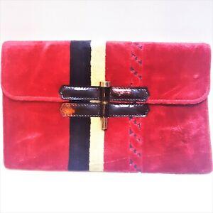 1950-1960s Italian Red Velvet & Black Patent Leather Envelope Clutch Bag Vintage