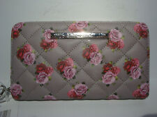 BETSEY JOHNSON QUILTED GREY/RED/PINK ROSES SINGLE ZIP AROUND WALLET/WRISTLET