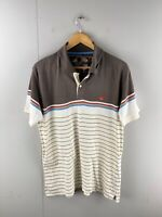 Colorado Men's Short Sleeve Casual Polo Shirt Size L Brown Stripe